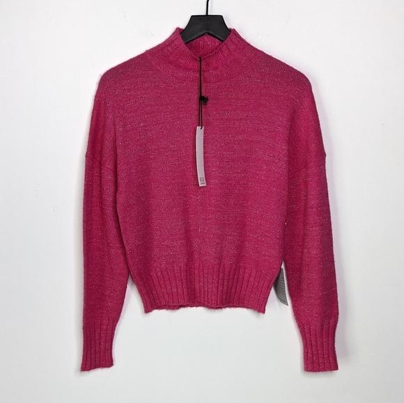 NSR Pink & Silver Sparkle Mock Neck Knit Sweater